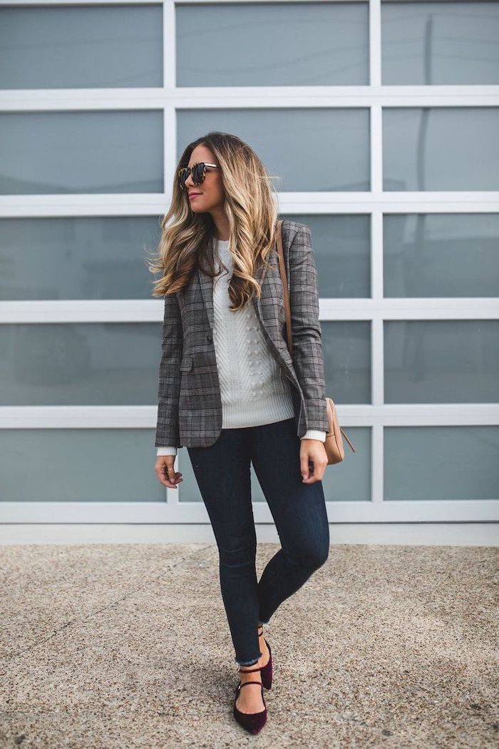dark jeans, burgundy velvet flats, dark grey blazers, white sweater, business professional attire