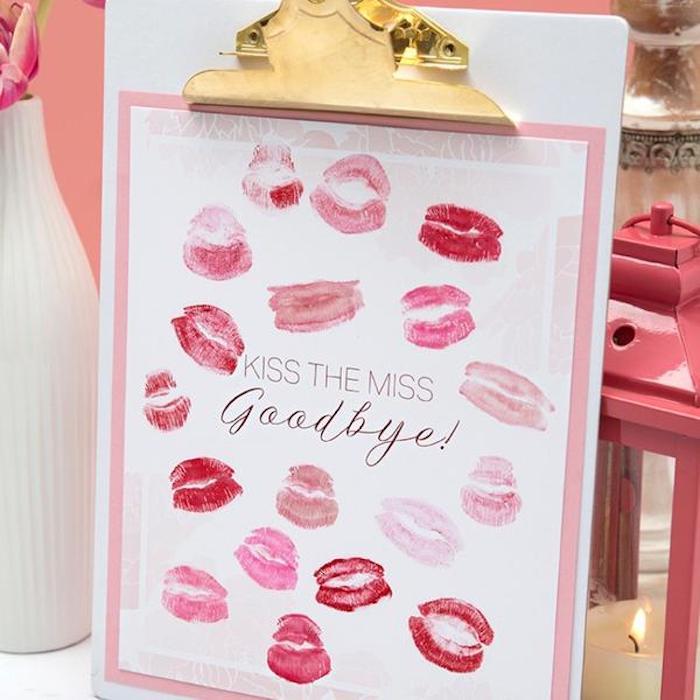 kiss the miss goodbye, lipstick prints, bachelorette party themes, pink lantern