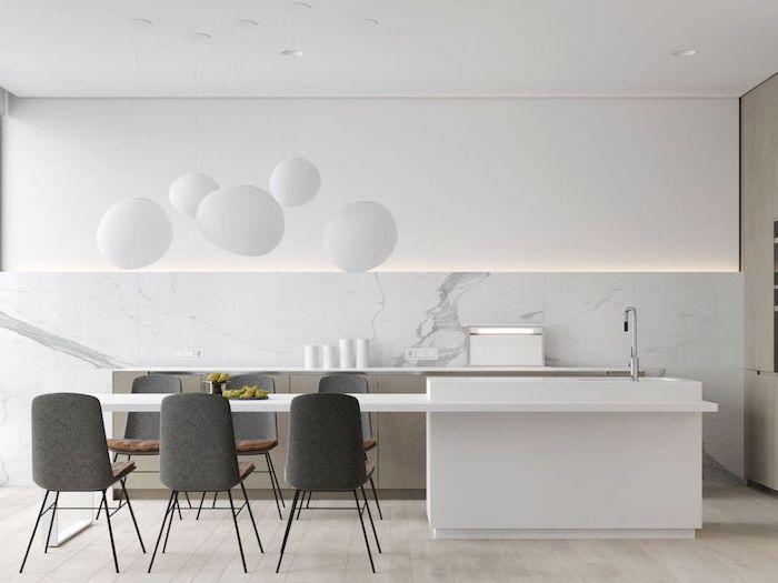 white cabinets and counters, modern kitchen ideas, dark grey chairs, marble backsplash