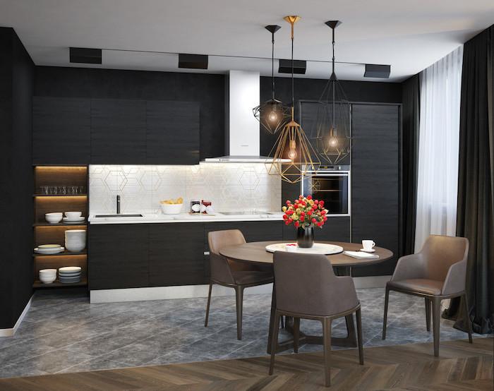 geometrical tiled backsplash, black cabinets and drawers, kitchen remodel, white counter