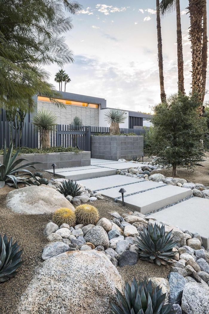 sand patch with stone tiles and rock for pathway, landscaping ideas, large rocks with different types of cactuses, tall palm trees