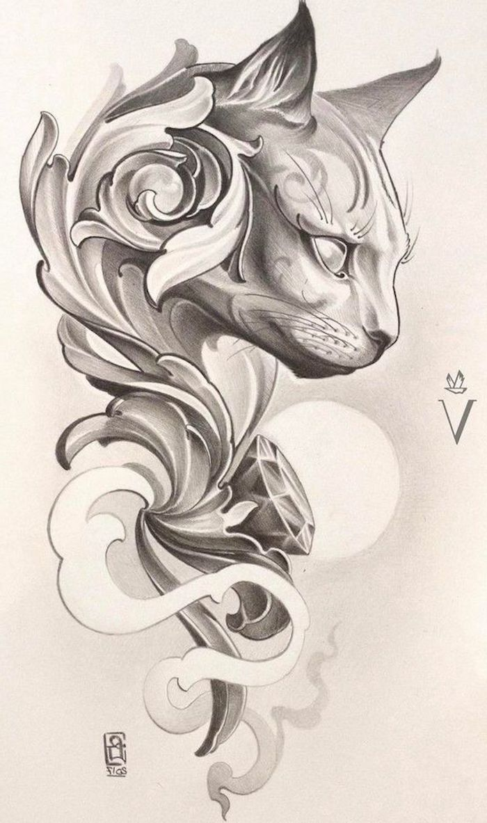 large cat head drawing, tattoo designs for women, black and white drawing, white background, tattoo symbols with hidden meaning