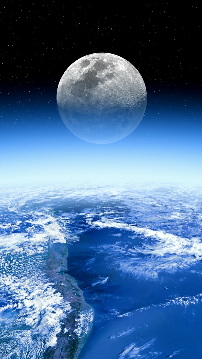 large moon, pretty iphone wallpaper, white clouds, blue and black skies