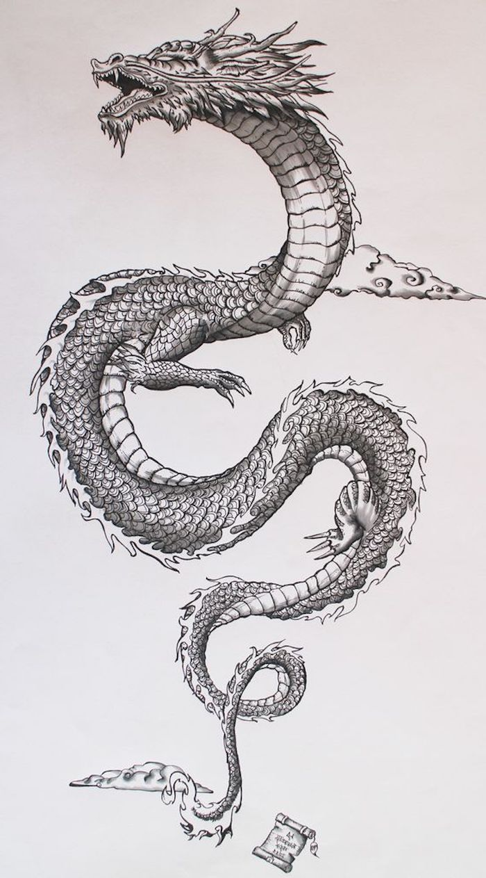 large s shaped dragon, tattoo designs for women, black and white drawing, white background