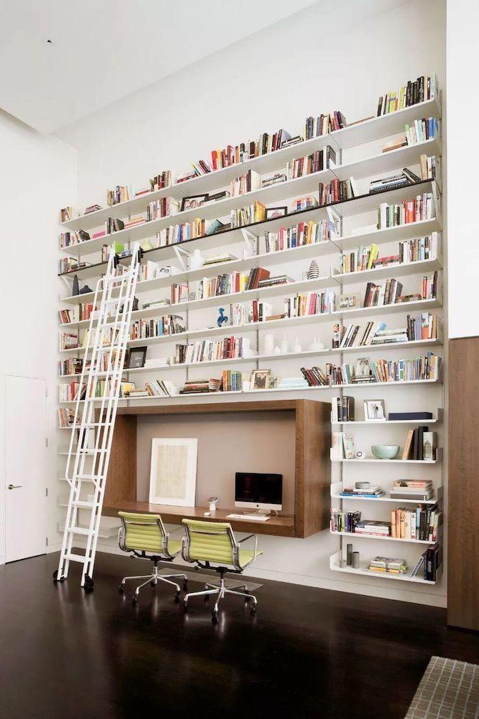 multiple bookshelves with books, sliding ladder, wooden desk, green chairs, home office decor