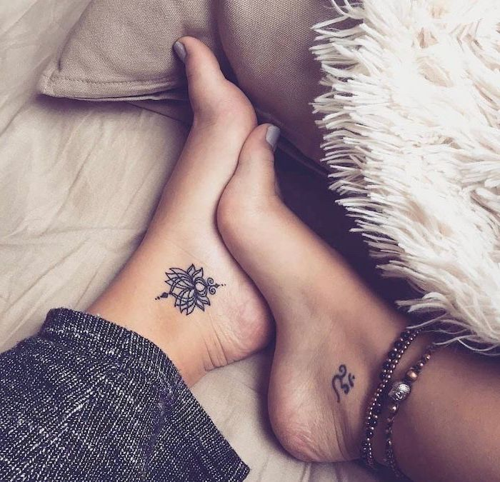 lotus flower, tattoo on the ankle, tattoos for women, white fluffy blanket
