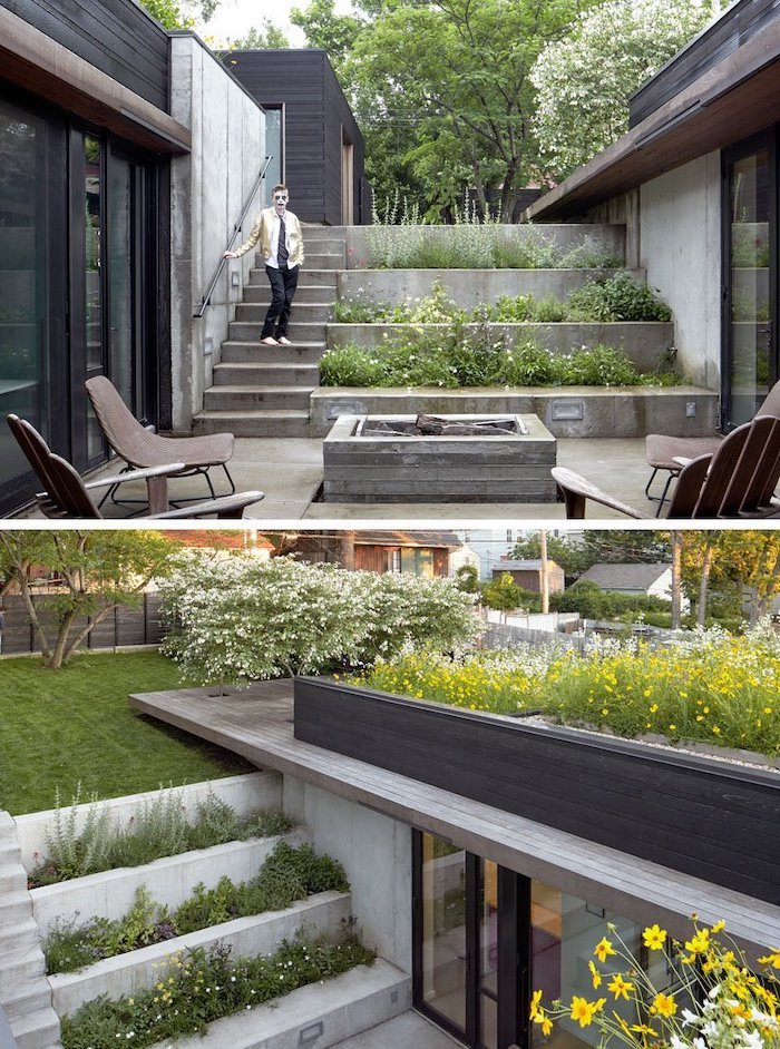 levelled flower beds, small front yard landscaping ideas, tall trees, grass patch with bushes