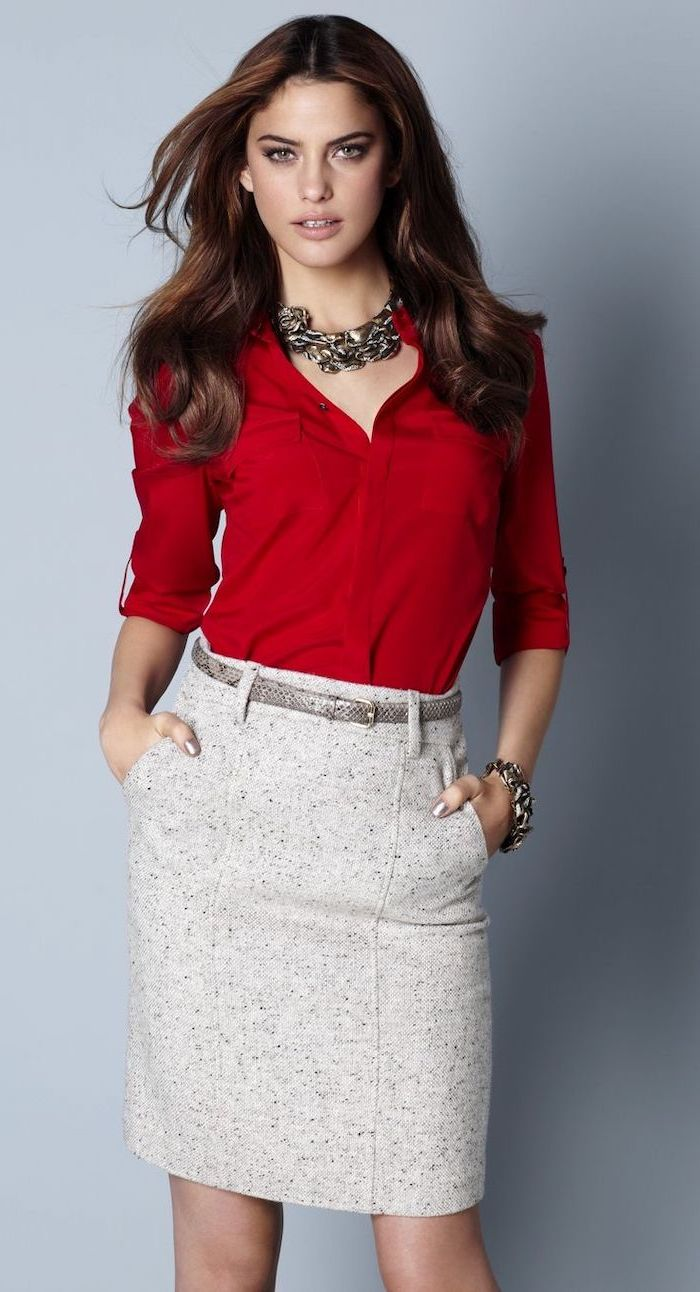 faux leather belt, business casual for women, red shirt, light grey skirt, large necklace and bracelet
