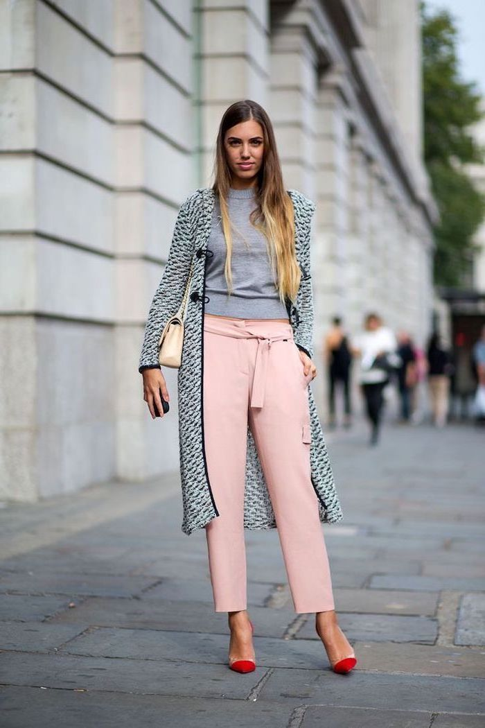 nude and red heels, what is casual dress, light pink trousers, grey blouse, long grey coat