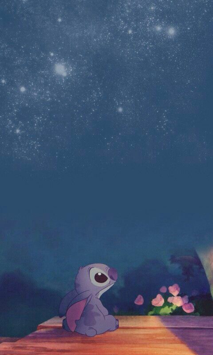 lilo and stitch character, starry blue sky, pretty iphone wallpaper, pink roses