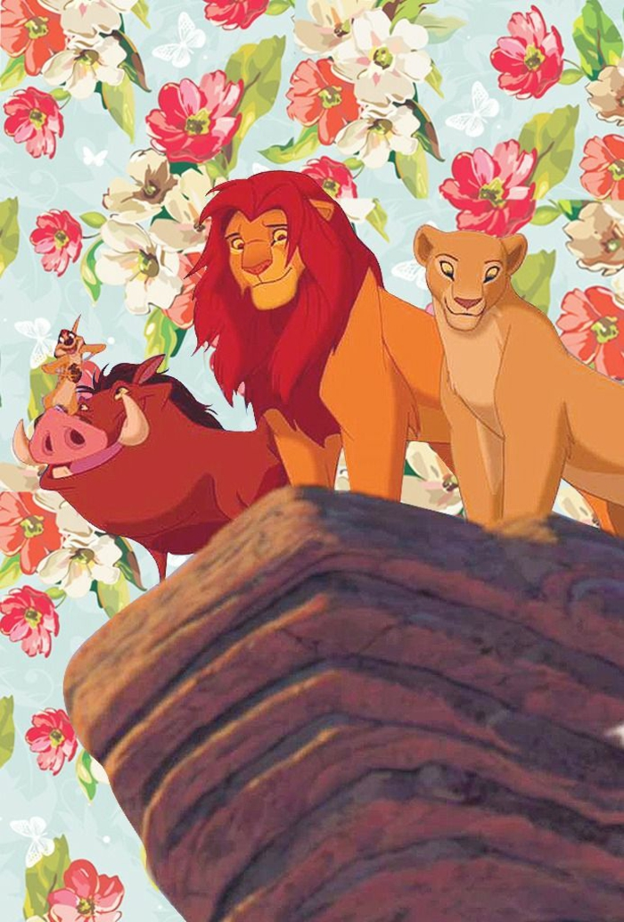lion king characters, standing on top of a rock, flowers in the background, pretty iphone wallpaper