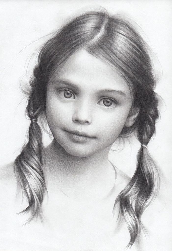 black and white drawing of a little girl, two braided ponytails, how to draw a person