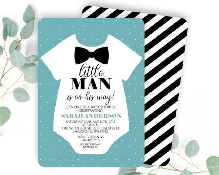 little man is on his way invitation, white onesie and a black bow, blue dotted card, baby shower party ideas