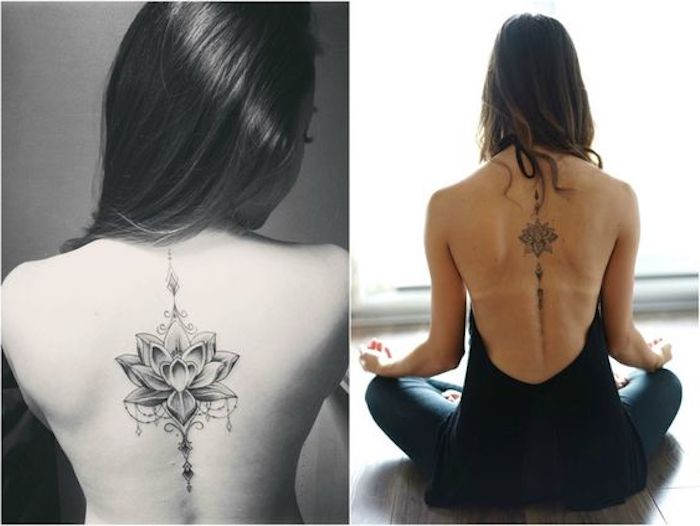 symmetrical lotus flowers, back tattoos, tattoo ideas with meaning, black and white backgrounds