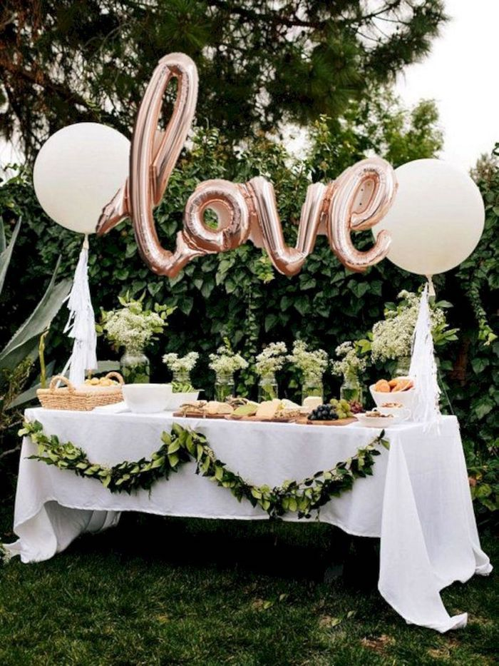 love balloons, vases with white flowers, unique bachelorette party ideas, cheese board