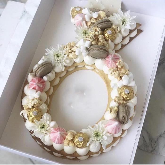 macaroons and meringue kisses, ferrero rocher chocolates, bachelorette games, diamond ring shaped cake