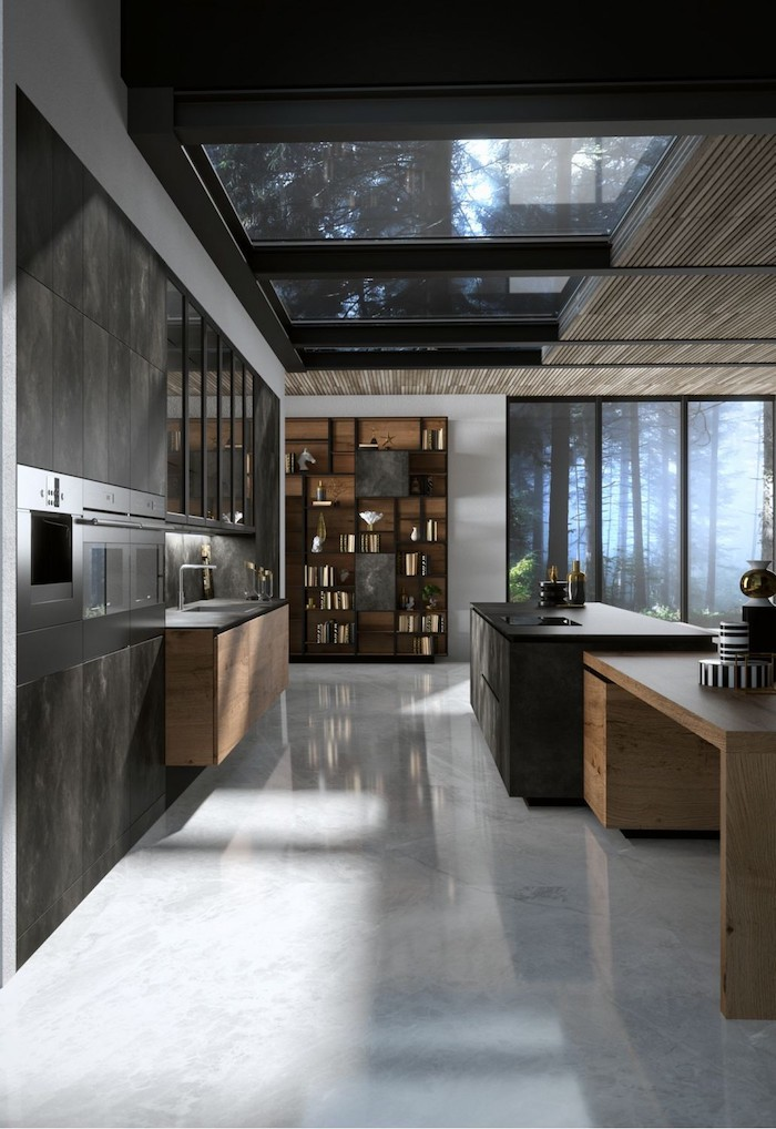 grey floor, wooden cabinets and kitchen island, kitchen design ideas, grey tiled cabinets