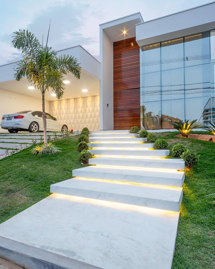 marble stairs with lights, small bushes along the pathway, desert landscape ideas, palm tree