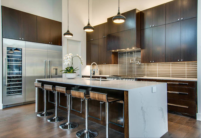 modern kitchen ideas, wooden cabinets and bar stools, marble kitchen island, tiled backsplash