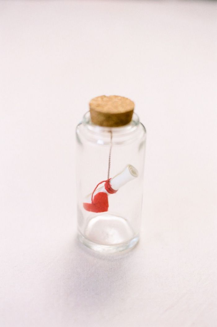 message in a bottle, small glass bottle with a cork, gift basket ideas for boyfriend