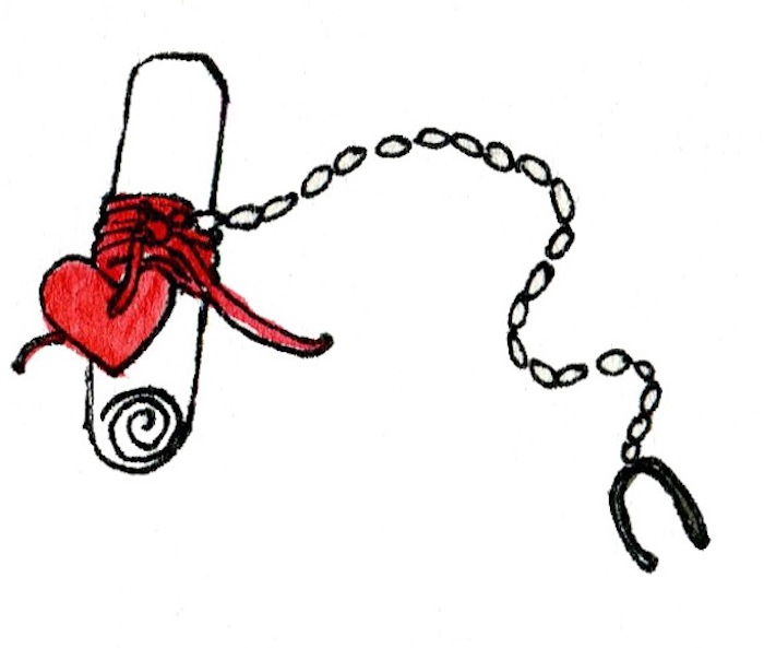 red heart attached with a chain, message written on a piece of paper, customised gifts for boyfriend