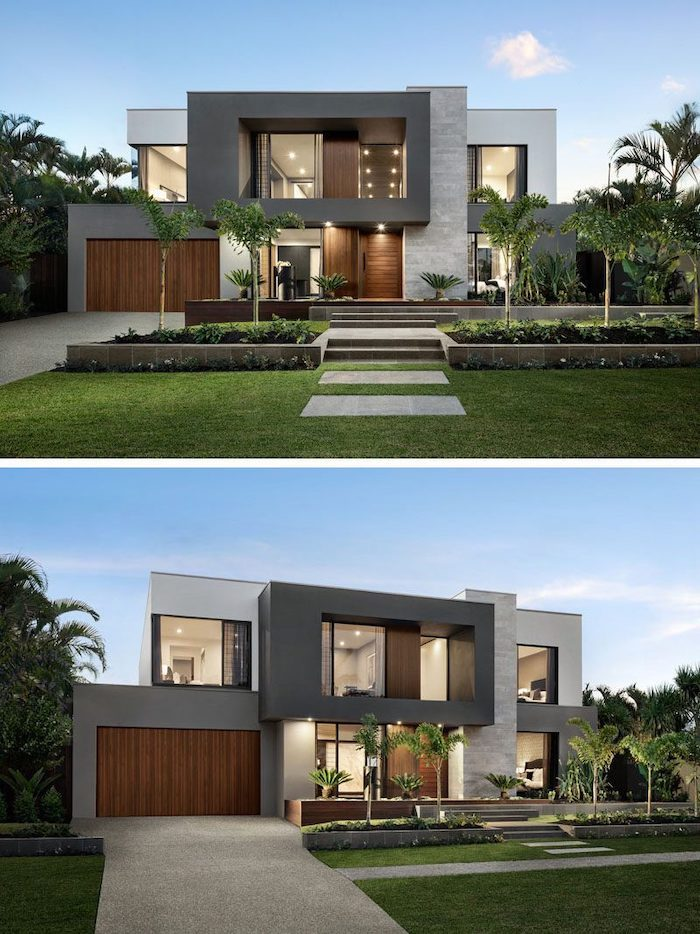 patches of grass, elevated patches with trees, palm trees, landscaping ideas, minimalistic house design