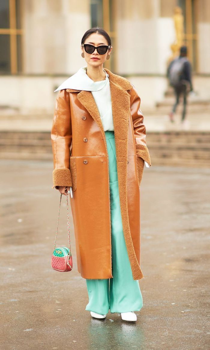 mint wide fit trousers, long brown coat, pink and mint small bag, summer business casual, white shirt