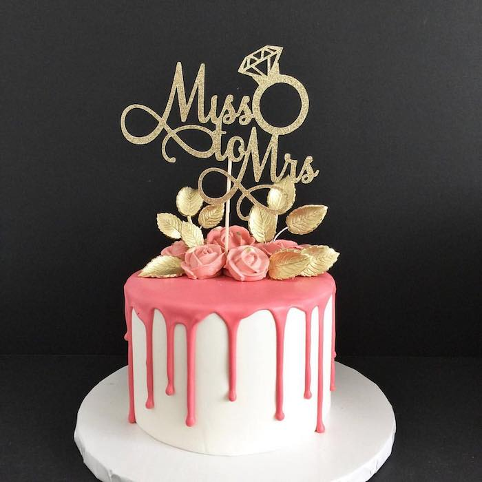 miss to mrs cake topper, white and pink cake with roses, wild bachelorette party, black background