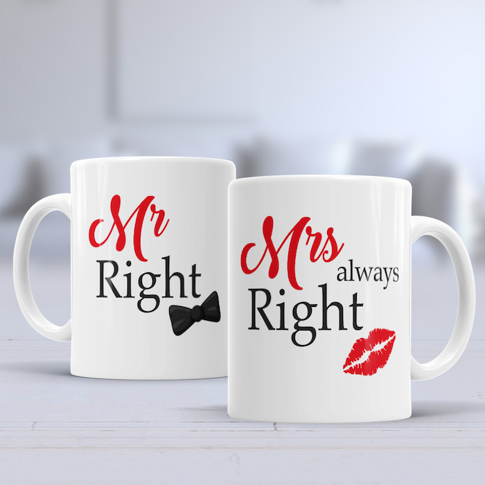 mr right and mrs always right coffee mugs, coffee mugs with special red and black text, unique gifts for boyfriend