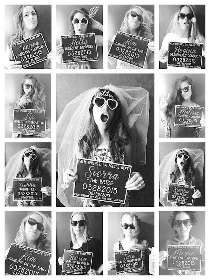mugshot signs, bachelorette ideas, heart shaped sunglasses, women on the photos