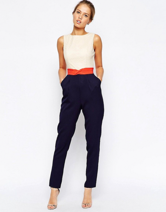 white top, navy trousers, business professional attire, orange belt, nude open toe shoes