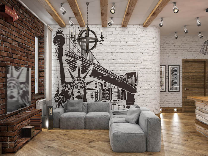 white brick wall with a new york skyline painting, grey sofa, feature wall, wooden floor
