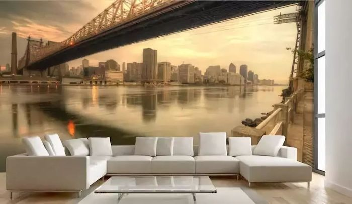 white corner sofa, new york skyline wallpaper, glass coffee tables, accent wall ideas bedroom