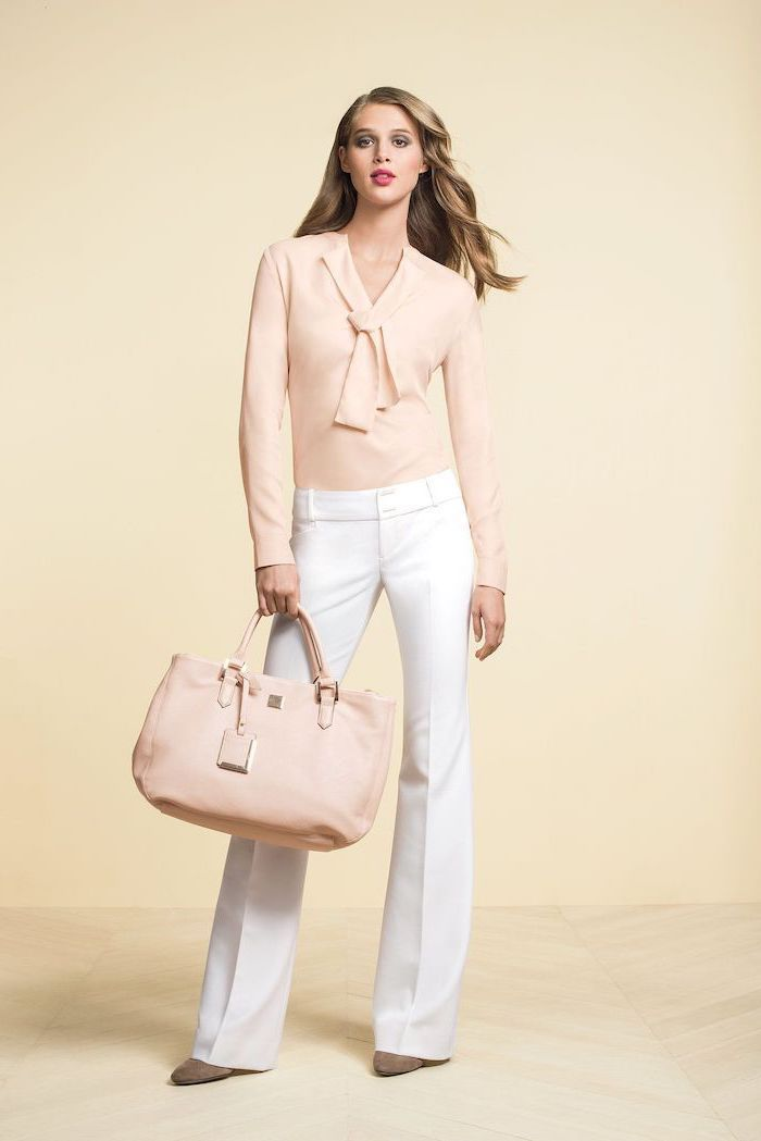 beige shirt, beige leather bag, white trousers, nude heels, womens business casual clothing