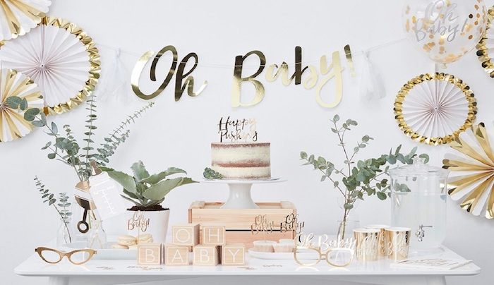 cake and sweets on the table, oh baby wooden and gold letters, baby shower theme ideas