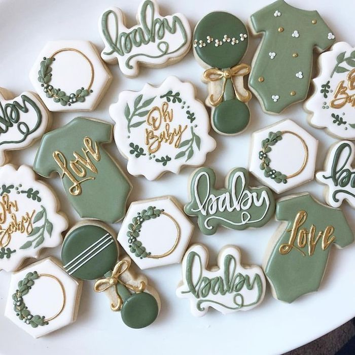 oh baby and love fondant on the cookies, baby boy shower decorations, white background