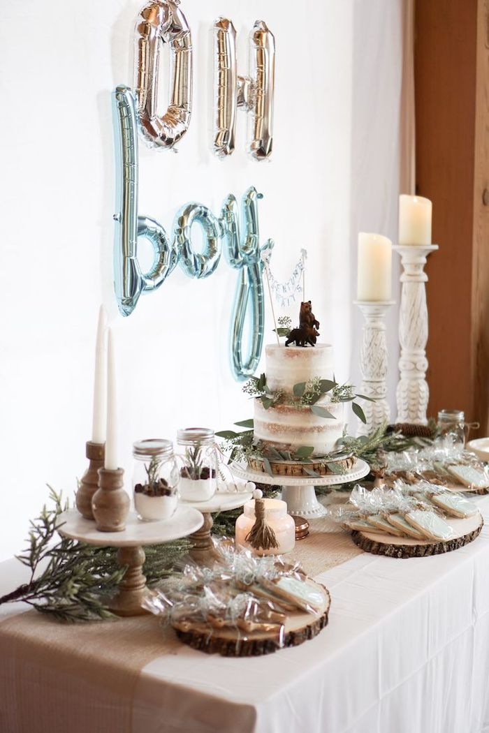 oh boy balloons, cake and sweets on the table, baby shower theme ideas, white background