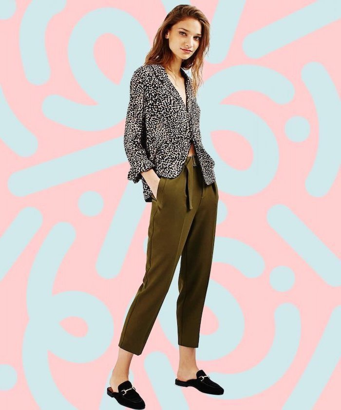 leopard print shirt, black velvet loafers, casual wear for women, olive green trousers