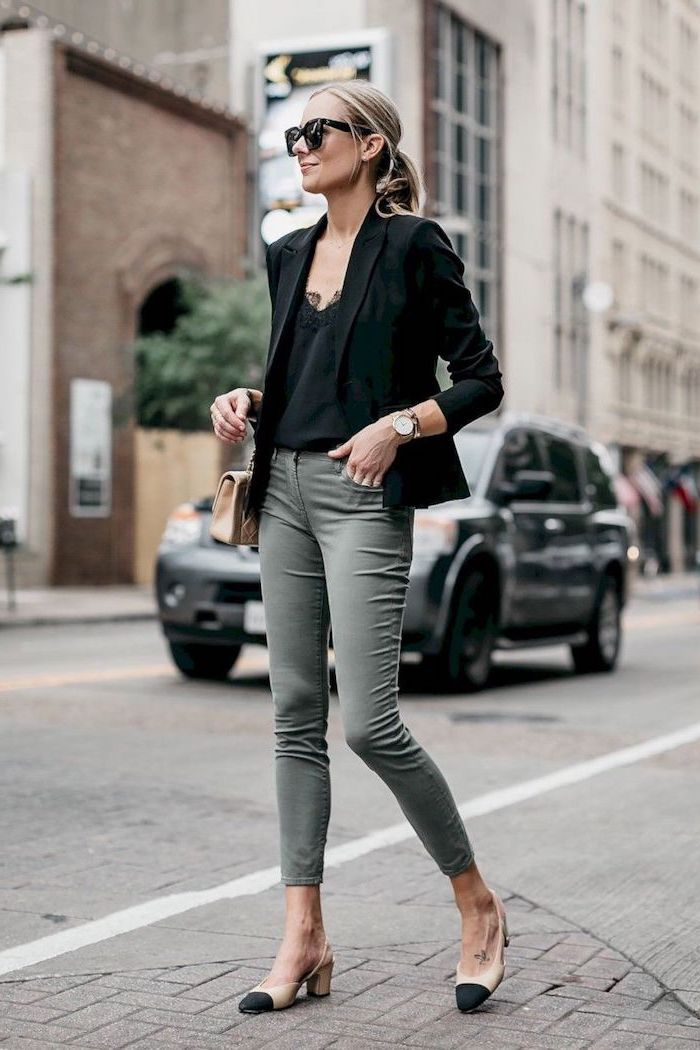 black top and blazer, olive green trousers, business professional attire, nude and black shoes