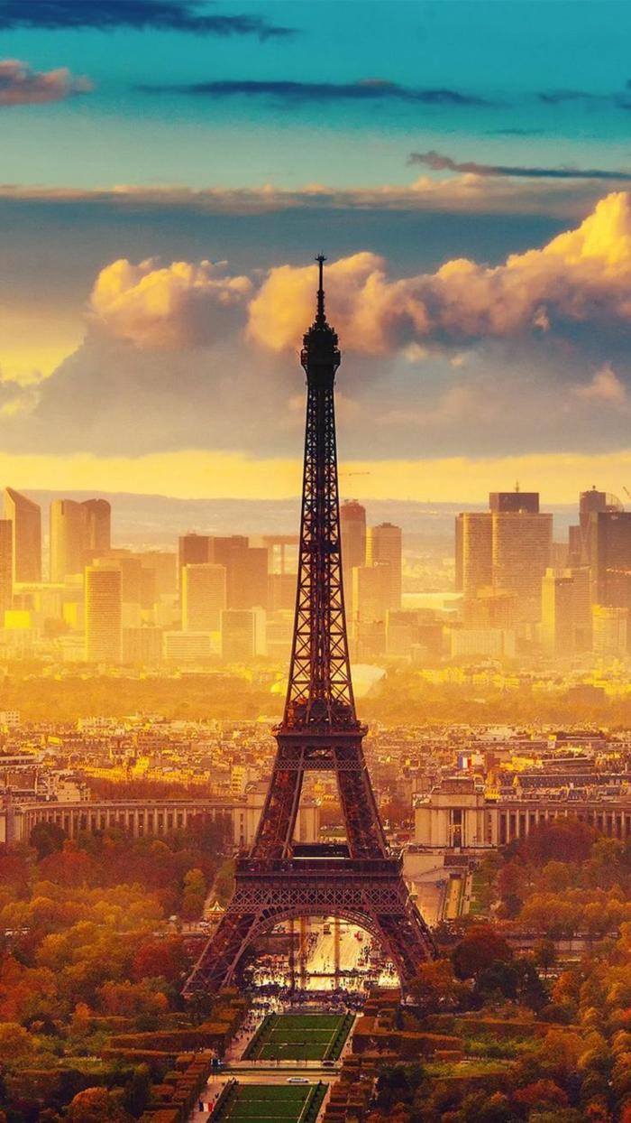 eiffel tower, motivational iphone wallpaper, paris skyline, orange and blue sky