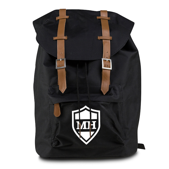 black backpack, brown leather straps, personalised with initials, valentine's day gift ideas for boyfriend