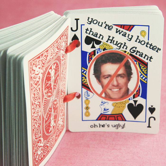 you;re way hotter than hugh grant, jack of spades, deck of cards, special message, romantic homemade gift ideas for boyfriend