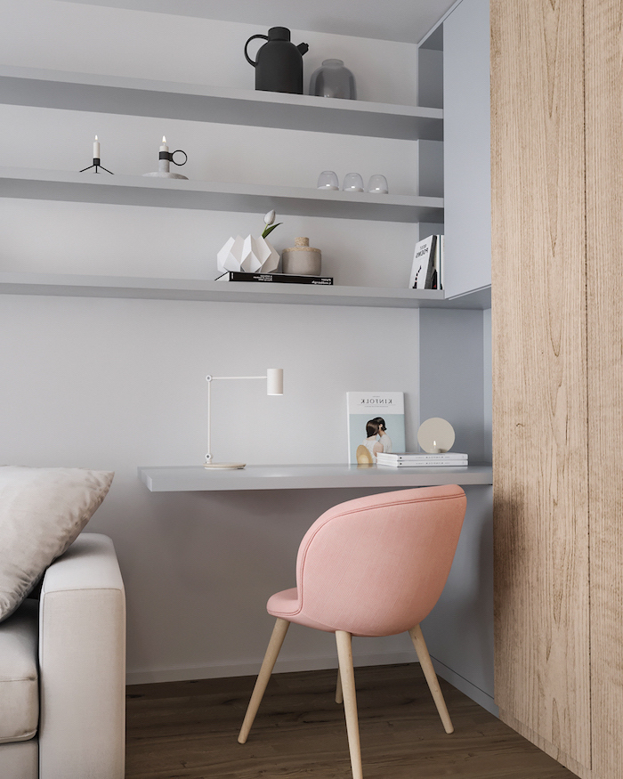 pink chair with wooden legs, grey bookshelves and desk, home office ideas, small desk lamp