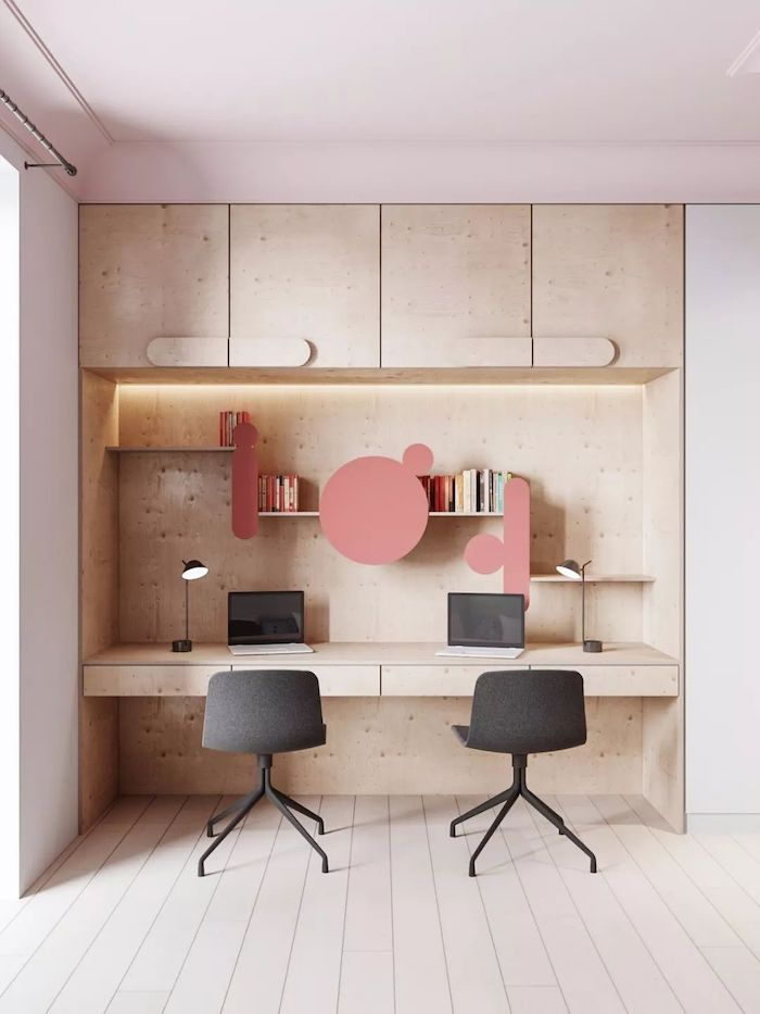 wooden cabinets bookshelves and desk, cute office decor, black chair, small black desk lamps
