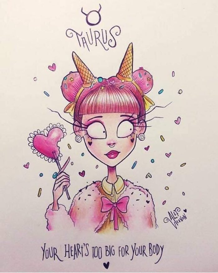 taurus zodiac sign drawing, pink hair in buns, heart shaped lollipop, how to draw a braid, pink fluffy jacket