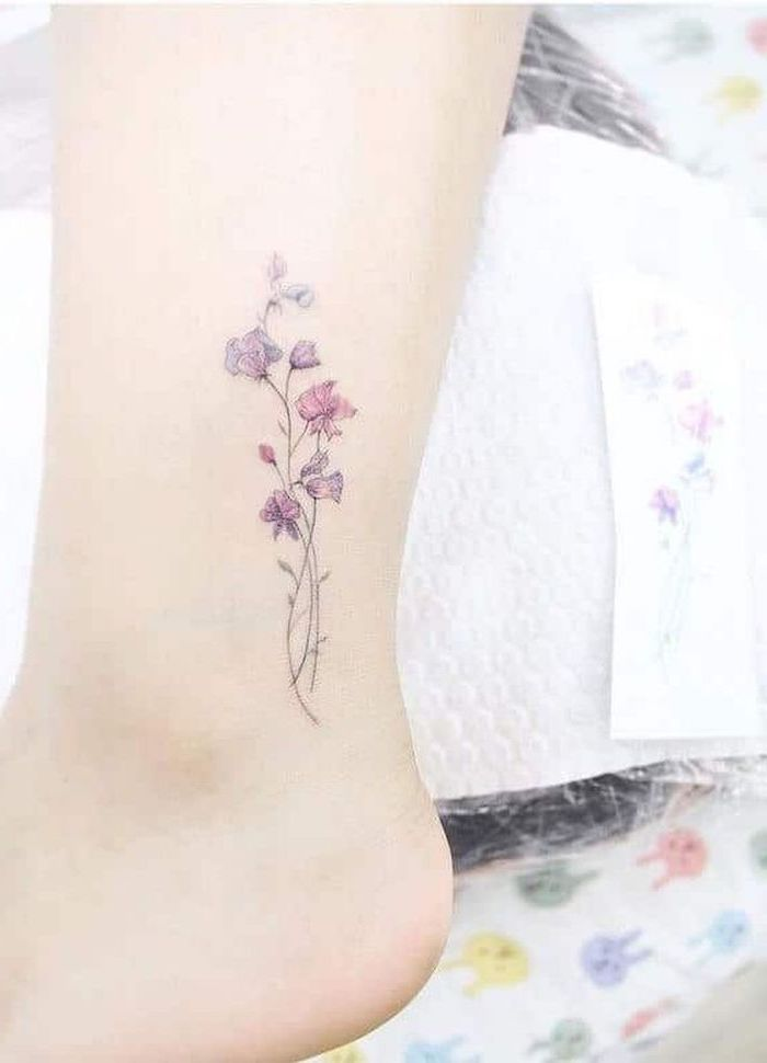 pink and purple flowers, tattoo on the ankle, white background, tattoos for girls on wrist