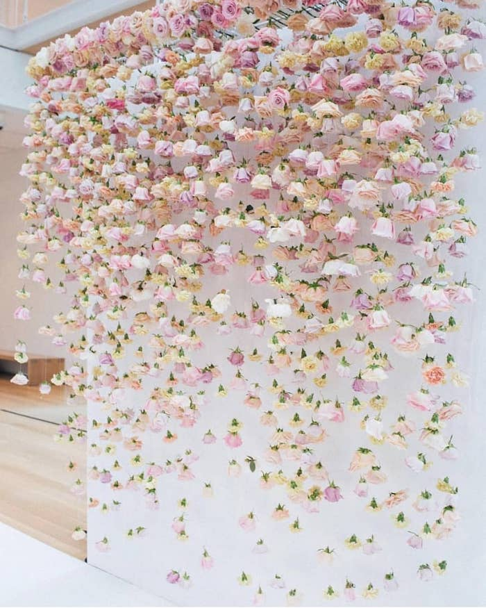 pink yellow purple and white roses hanging on a wall, wedding table decoration ideas