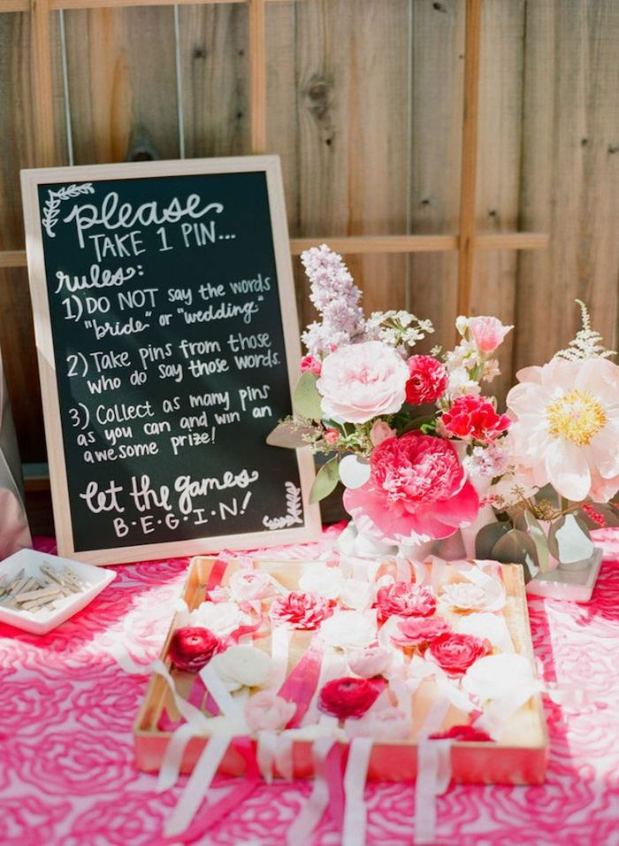 please take one pin board, what is a bachelorette party, vase with flowers, pink flowers bracelets