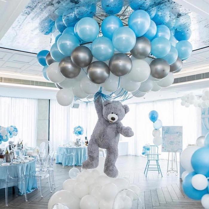 blue white and grey balloons, unique boy baby shower themes, large grey plush teddy bear