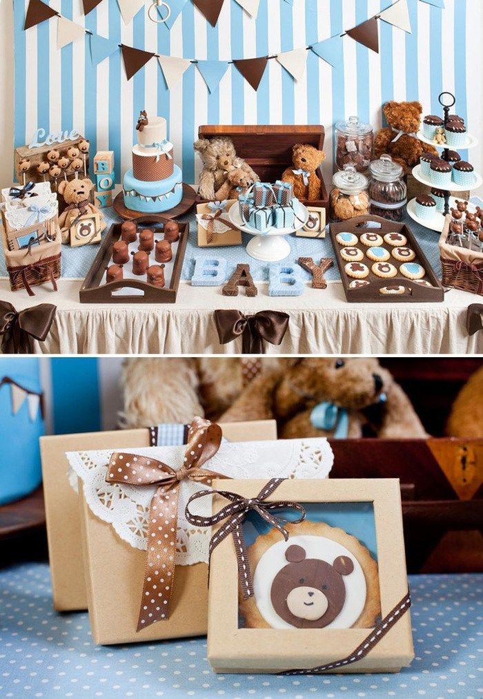 blue white and brown decorations, blush teddy bears in wooden crate, baby shower ideas for boys, cakes and sweets on the table